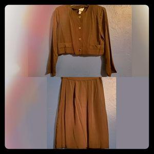 Vintage Cropped Coat & Highwaist Skirt Suit Set